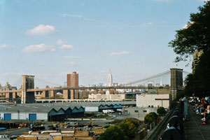 05-10-02 - In Brooklyn: Promenade with vista to Brooklyn Bridge and Empire State Building